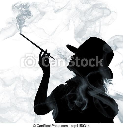 donna, silhouette, isolato, fondo, fumo, bianco - csp4150314
