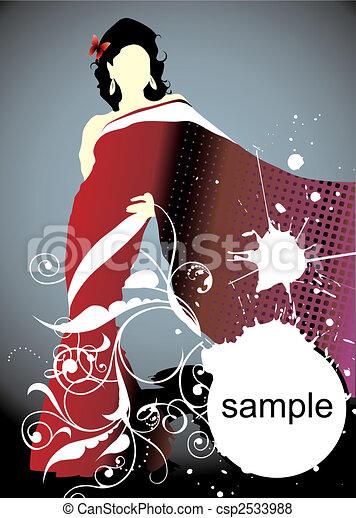donna, silhouette - csp2533988