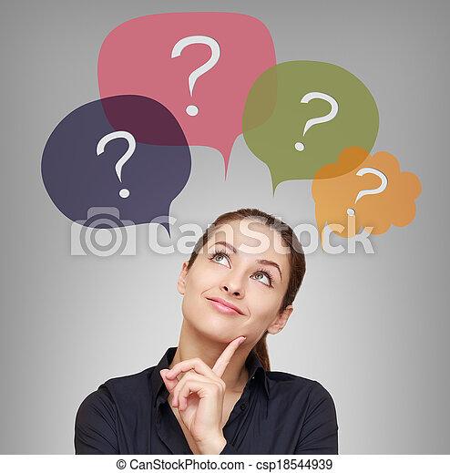 donna, sopra, affari, pensare, molti, domande, bolle - csp18544939