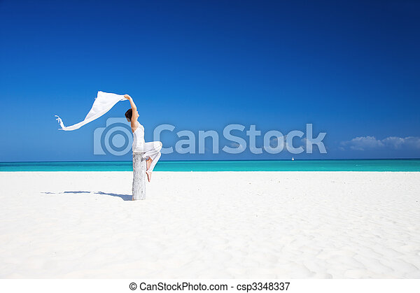 donna, spiaggia, felice - csp3348337
