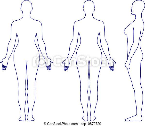 donna stando piedi, silhouette, nudo - csp10872729
