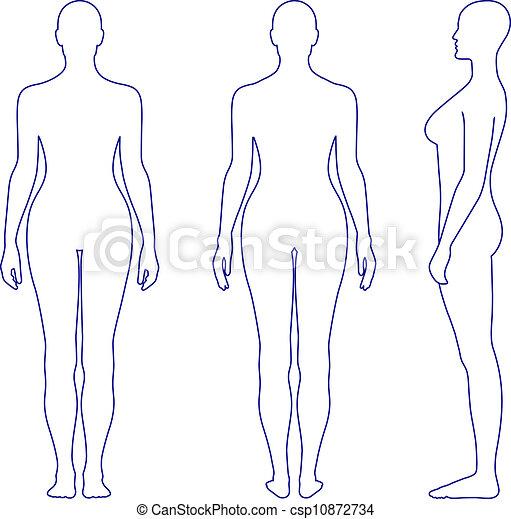 donna stando piedi, silhouette, nudo - csp10872734