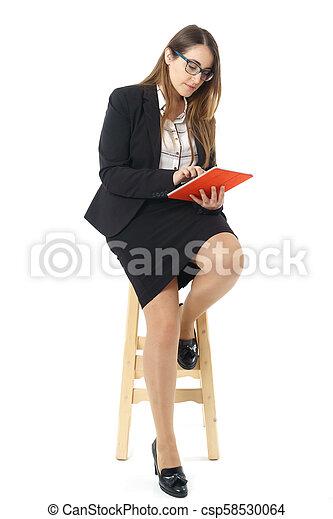 donna, tavoletta, lavorativo, legno, sopra, panca, caucasico - csp58530064