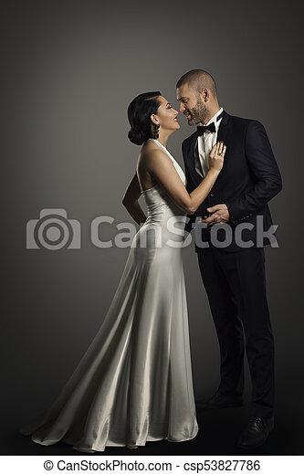 hot sale online a6906 d8d4f donna, vestito, bene, lungo, coppia, completo, elegante, lunghezza, pieno,  nero, retro, ritratto, vestito bianco, uomo