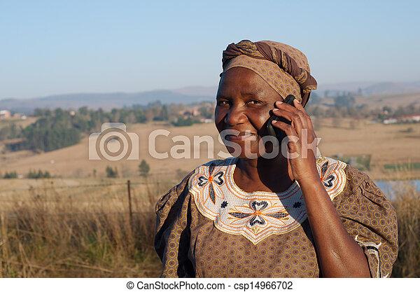 donna, zulu, mobile, tradizionale, telefono, africano, parlante - csp14966702