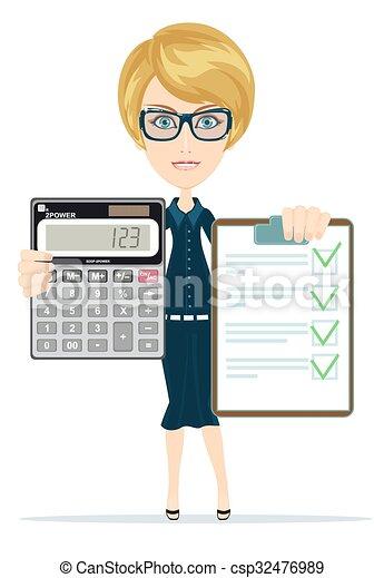 Donne affari. White., affari, orologio, ufficio., sopra, giovane, contabile, attraente, calcoli, donna d'affari, ritratto, | CanStock