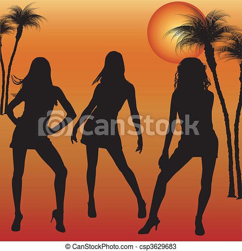 donne, dande, silhouette - csp3629683