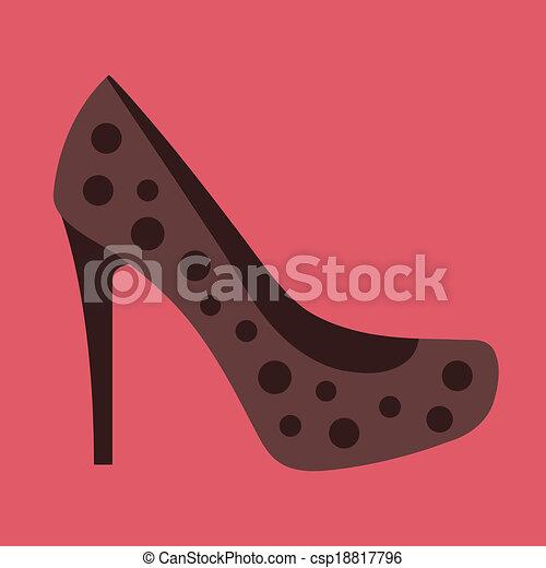 donne, vettore, scarpa, icona - csp18817796