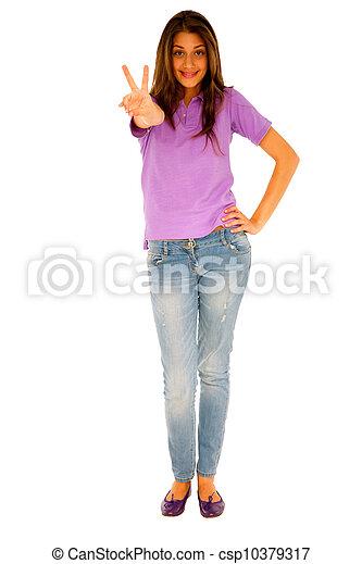 donner, adolescent, paix, girl, signe - csp10379317