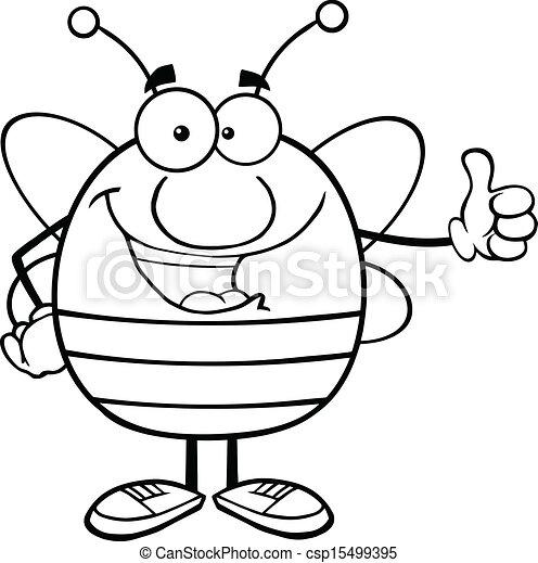 donner, esquissé, abeille, pouce haut - csp15499395