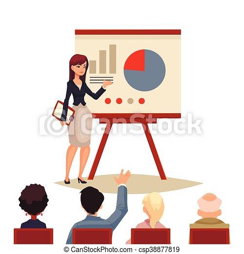 donner, femme affaires, présentation, planche, utilisation - csp38877819