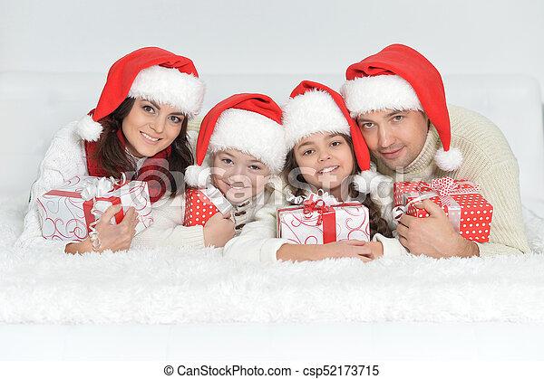 dons, chapeaux, santa, famille - csp52173715