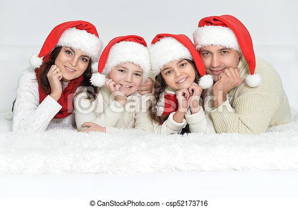 dons, chapeaux, santa, famille - csp52173716