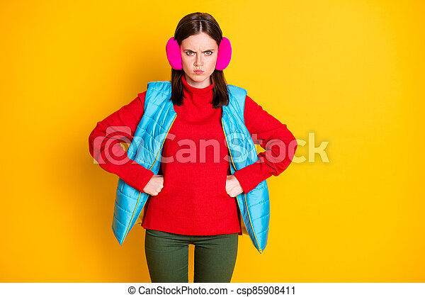 Dont do that. Photo of grumpy aggressive angry woman have quarrel with young sister feel anger about her behavior wear season pants isolated over bright color background - csp85908411