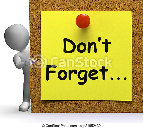 Don't Forget Note Means Important Remember Or Forgetting - csp21952430