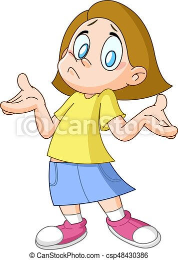 dont know girl young girl shrugging shoulders expressing vector rh canstockphoto com Question Clip Art Thinking Clip Art