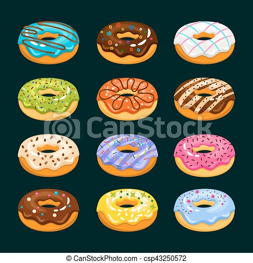 Donut cake cartoon icons. Chocolate assorted donuts vector illustration - csp43250572