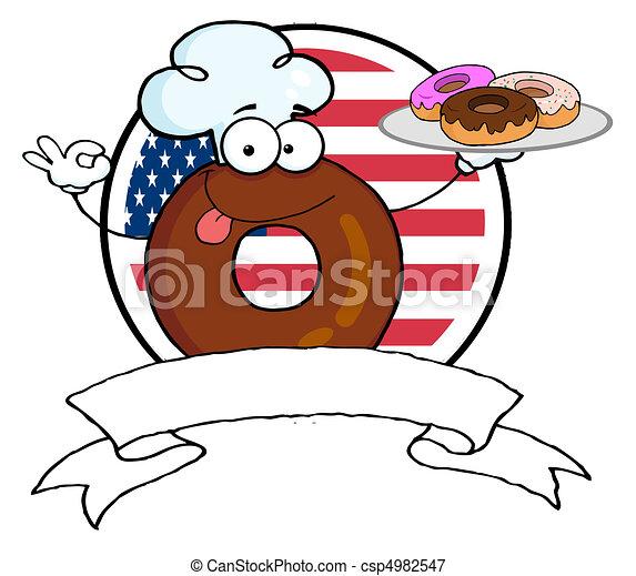 Donut Chef Cartoon Character  - csp4982547