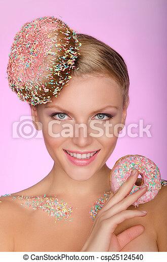Donut Frisur Frau Junger Kreativ