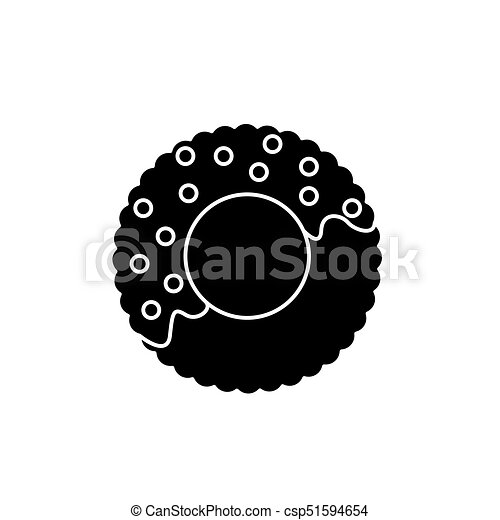 donut icon, vector illustration, black sign on isolated background - csp51594654