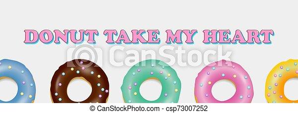 Donut set. Hand drawn bakery design pop art - csp73007252