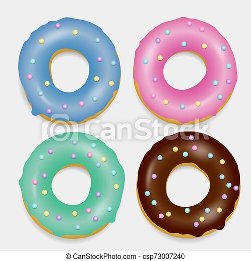 Donut set. Hand drawn bakery design pop art - csp73007240