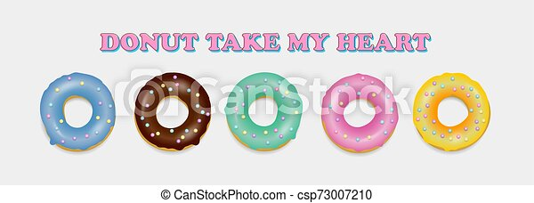 Donut set. Hand drawn bakery design pop art - csp73007210