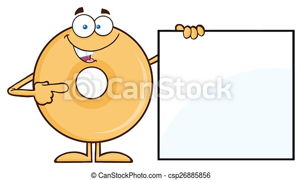 Donut Showing A Blank Sign - csp26885856