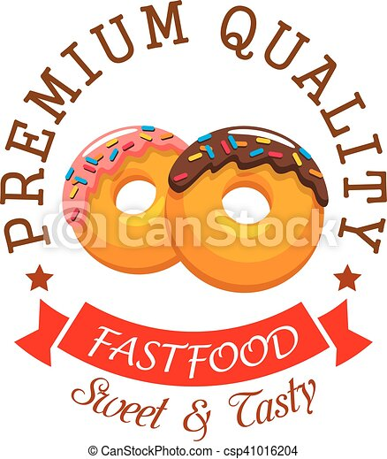 Donut Symbol For Fast Food Cafe And Bakery Design Donut Shop Or