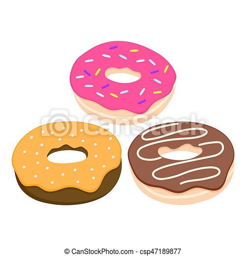 Donut vector set isolated on a light background - csp47189877