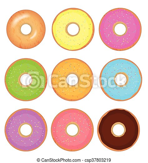 Donut vector set isolated on a white background - csp37803219