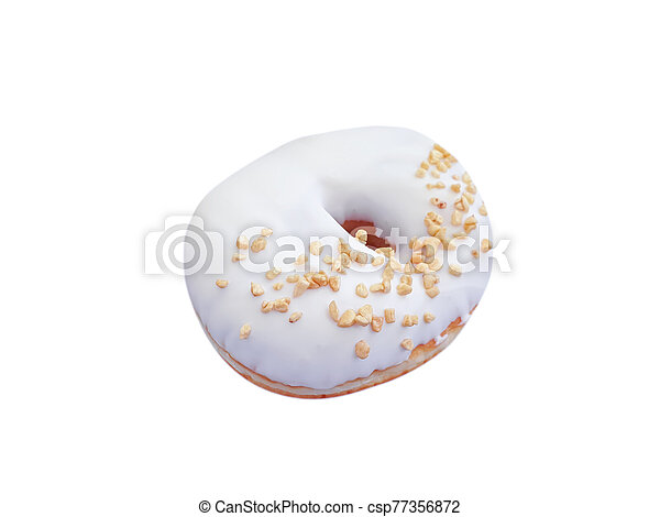 donut with nuts on a white background - csp77356872