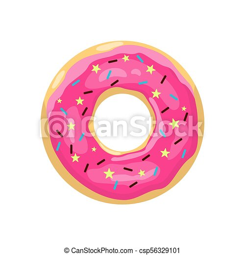 Donut With Pink Glaze Color Donut Icon Cute Pink Cartoon Donut