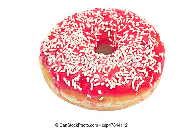 Donut with sprinkles isolated on white background - csp47844112