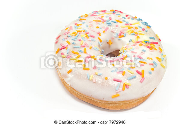 Donut with sprinkles isolated on white - csp17972946