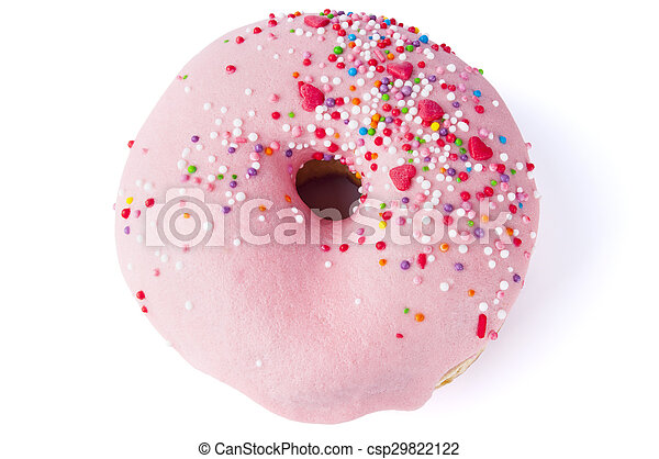 Donut with sprinkles isolated on white - csp29822122