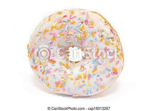 Donut with sprinkles isolated on white - csp18013297