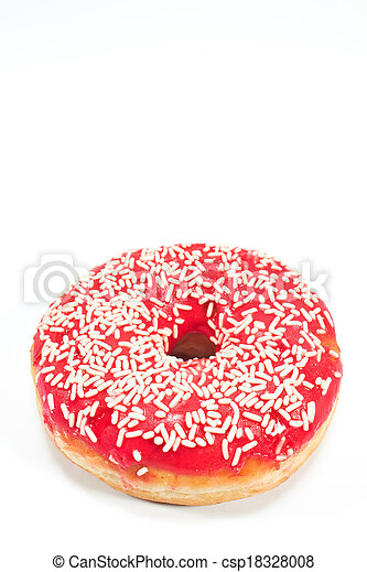 Donut with sprinkles isolated on white - csp18328008