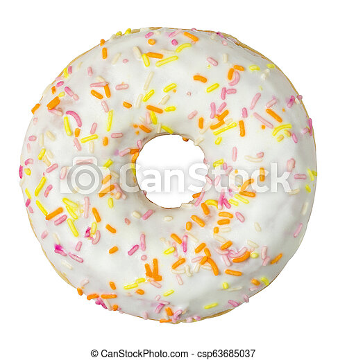 Donut with sprinkles isolated on white background - csp63685037