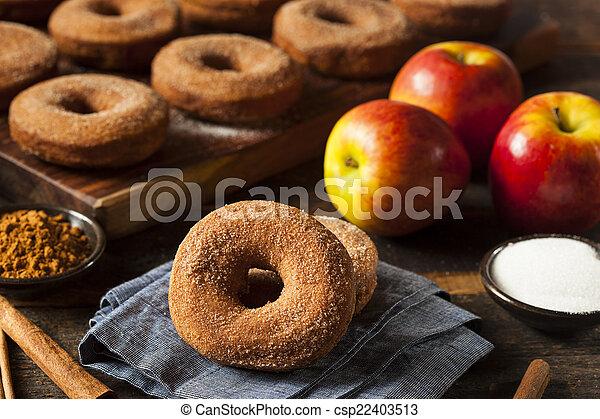 donuts, morno, sidra, maçã - csp22403513