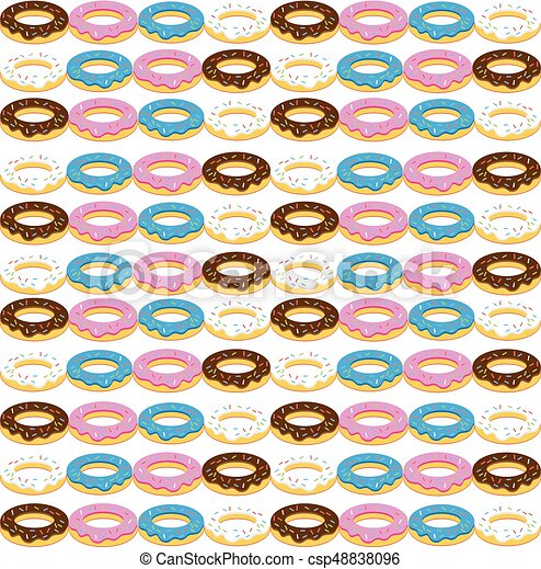 Donuts on white background. Vector illustration. - csp48838096
