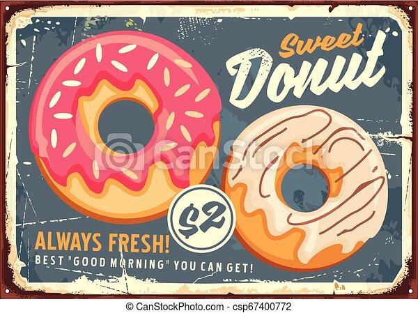 Donuts retro commercial sign design - csp67400772