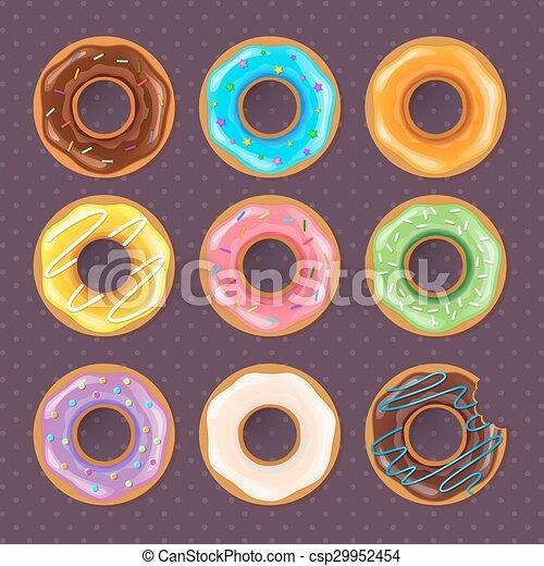 donuts, set, colorito, dolce - csp29952454