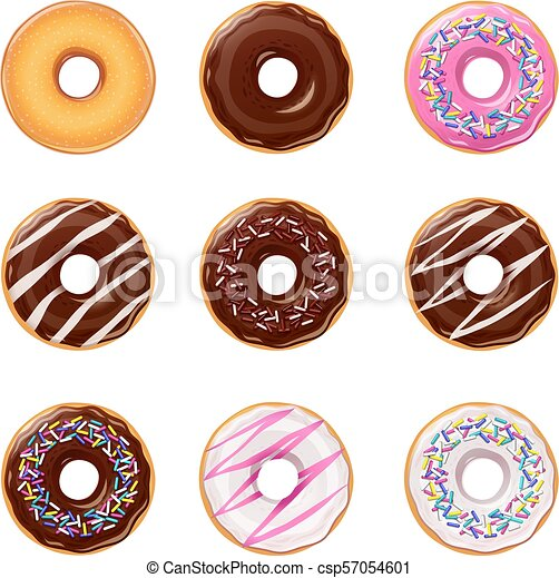 Donuts. Set of american sweets desserts. - csp57054601