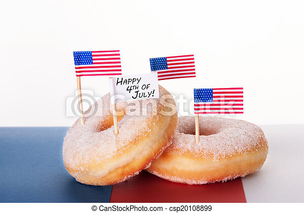 Donuts with Flags and Happy 4th of July - csp20108899
