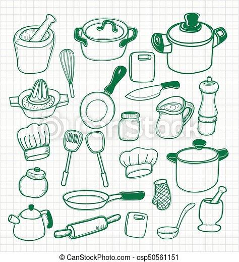 Illustration Of Freehand Drawing Dooddle Kitchen Utensils