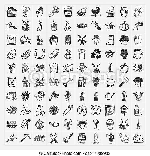doodle, agricultura, jogo, ícone - csp17089982