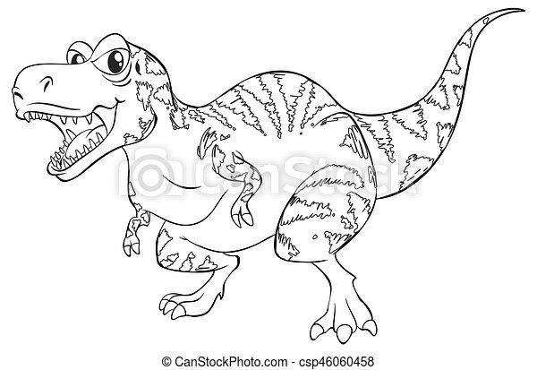 Doodle Animal For T Rex Dinosaur Illustration