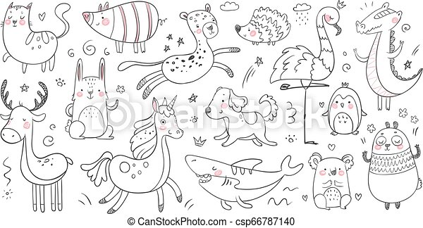 Hand Sketching Animal Clip Art