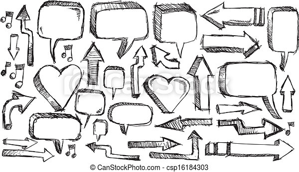 doodle Arrows and Speech bubble set - csp16184303